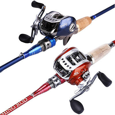 Bait Casting Fishing Combos 2-piece Bass Trout Travel Fishing Pole Reel Gears