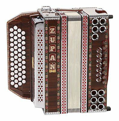 Zupan Alpe Ivd Accordeon G-C-F-B 8 Basses Helicon Etui Sangles Palissandre Neuf