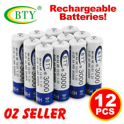 12 pcs AA Rechargeable battery batteries Bulk Nickel Hydride NI-MH 3000mAh 1.2v