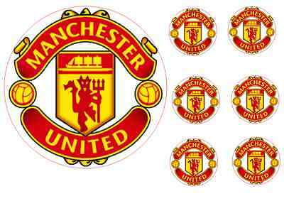 Manchester united 17cm cake topper with 6 5cm cupcake toppers wafer paper