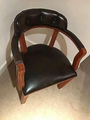 Leather and wood club style chair