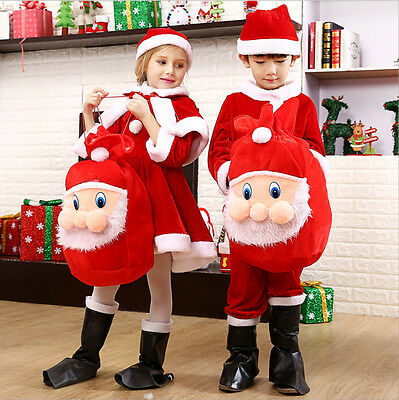 Boy Girl Children Christmas Santa Claus Party Costumes Clothes Bag Decorate