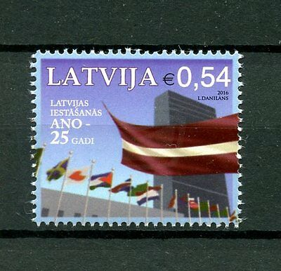 Latvia 2016 MNH UN United Nations Entry 25th Anniv 1v Set Flags Stamps