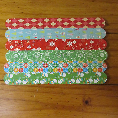 Set Lot Of 36 Holiday Christmas Emery Boards Nail Files, 12 Packages Of 3 Each