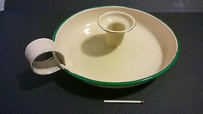Antique vintage enamel tin candle holder cream with green trim nice condition