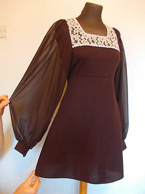 Vintage 1960's Size 8-10 MOD Scooter PSYCH Balloon Sleeved GODDESS Dress 8-10