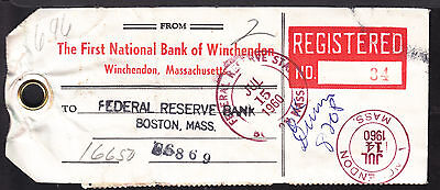 1960 FIRST NATIONAL BANK of WINCHENDON, MASS., REGISTERED $6.96 MAIL BAG TAG