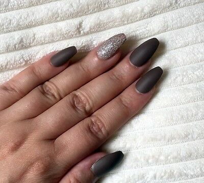 Hand Painted False Nails COFFIN Full Cover. Matte Mocha Nude & Bronze Glitter