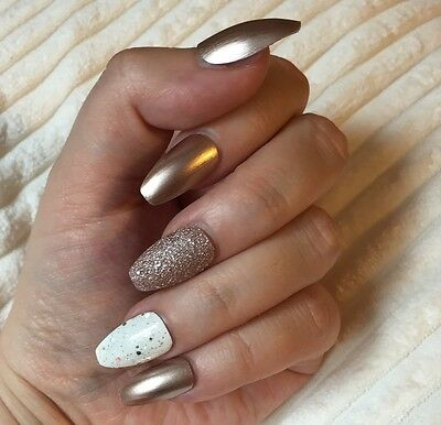 Hand Painted False Nails COFFIN Full Cover. Champagne Gold Bronze glitter. UK