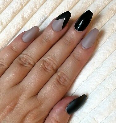 Hand Painted False Nails COFFIN Full Cover. Matte & Gloss Black & Nude UK