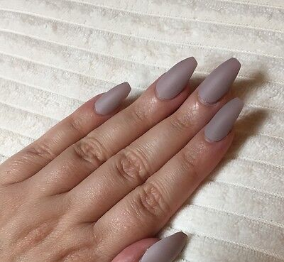 Hand Painted False Nails COFFIN Full Cover. Matte Taupe Nude. Ballerina. SALE