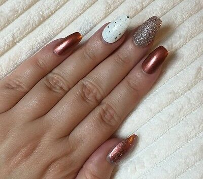 Hand Painted False Nails COFFIN Full Cover. Copper Bronze glitter shimmer. UK