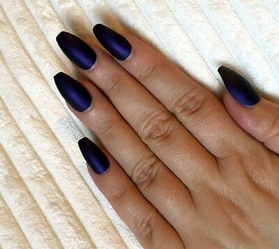 Hand Painted False Nails COFFIN Full Cover. Matte Cadbury Purple. UK