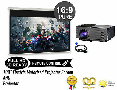 Home Cinema System Electric Motorised Projector Screen + 1500L Smart Projector