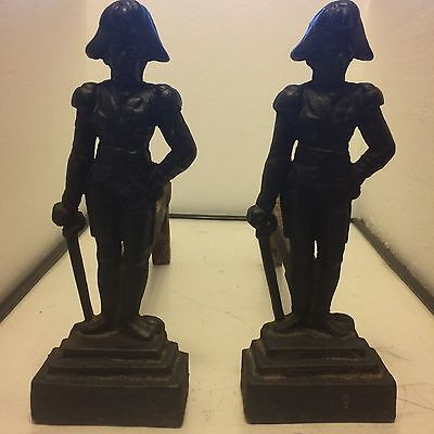 ANTIQUE PAIR VICTORIAN FIRE DOGS ANDIRONS #15 HAND-FORGED CAST IRON c1850 RARE