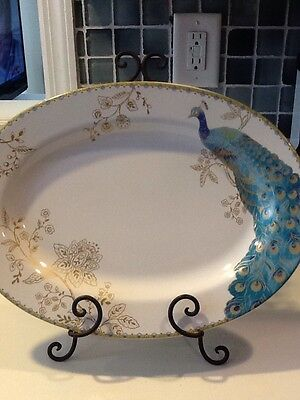 222fifth Peacock Garden New Large Serving Platter