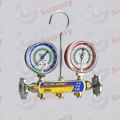 """Yellow Jacket 41212 - Series 41 Manifold Only, 2-1/2"""" Gauges, R-12/22/502, °F"""
