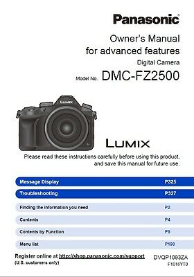 Printed Panasonic DMC-FZ2500 Digital Camera Instruction Manual / User Guide