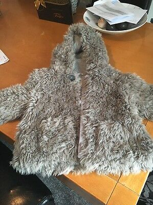 Little Girls Next Faux Fur Coat Aged 1 Half To 2 Years Free Postage
