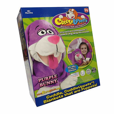 New Cuddleuppets Snugglepets Cuddle Uppets purple Bunny Puppet-Blanket