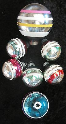 7 Mixed Size Vintage Striped Christmas Tree Ornaments MERCURY GLASS