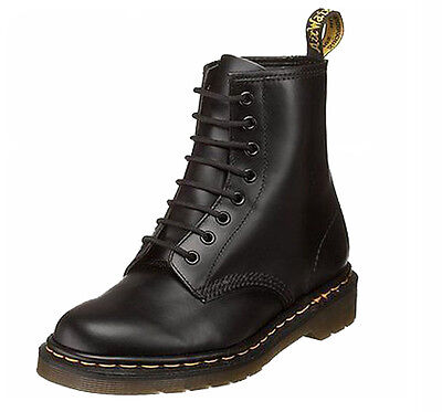 Dr. Martens 1460 Black 8 Eye Classic Smooth Leather Boots with Air Wair Soleie