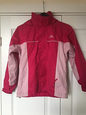Girls Hot Pink Trespass Coat Waterproof Wind Proof Age 7-8