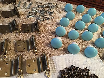 Vintage 1950'S Kitchen Cabinet Cupboard Hinges-Porcelain Drawer Knobs 429 pieces