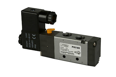 "NEW 24V DC Solenoid Air Pneumatic Control Valve 5 Port 4 Way 2 Position 1/4"" NPT"