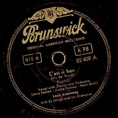 LOUIS ARMSTRONG C'est si bon / Blueberry Hill ( 2 Welthits!) -Kult- 78rpm  S9141