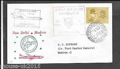 India 1964 First Flight Cover Caravelle Jet Services.