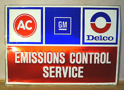 Vintage 1960s 70s Embossed AC Delco General Motors Service Advertising Sign