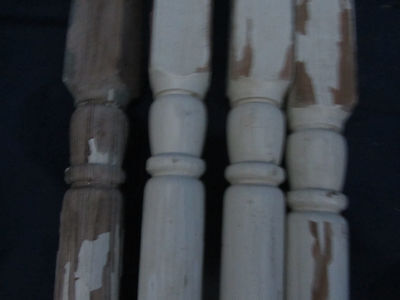 "Set of 4 Vintage Tapered Wood Stair Balusters  Spindles 34""  LOT31"
