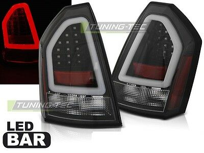 New Set Rear Tail Lights Ldch19 Chrysler 300C 2005-2008 Black Led Bar