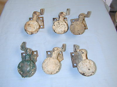 6 ANTIQUE 1800's VICTORION CAST IRON CLAM SHELL WINDOW SHUTTER DOGS
