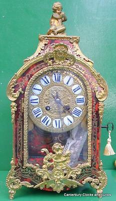 S.MARTI ANTIQUE FRENCH TWO TRAIN 8 DAY BOULLE BRACKET BOUDIOR MANTLE CLOCK 1850c