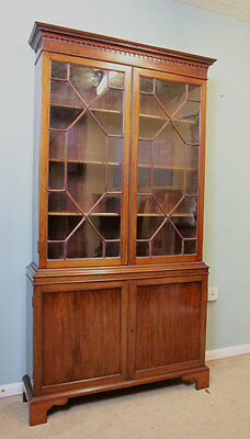 Antique Mahogany Slim Glazed Cupboard Bookcase, Display Cabinet