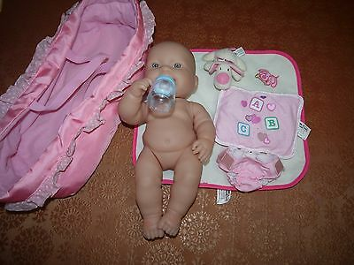 berenguer doll with carry bed approx 36 cm drink we doll