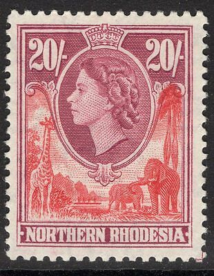 Northern Rhodesia Sg74 1953 20/= Rose-Red & Rose-Purple Mtd Mint