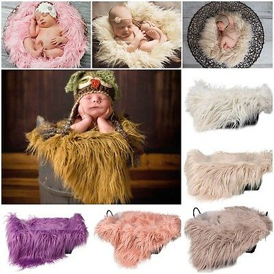 Soft Faux Fur Rug Mat Newborn Baby Photography Props Blanket Basket Stuffer HQ