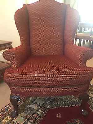 Pair Of Beautiful Antique Queen Anne Style  Wing Back Armchairs