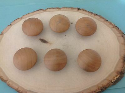 601 VTG Wooden Knobs In Light Tone Shabby Chic! Set Of 6