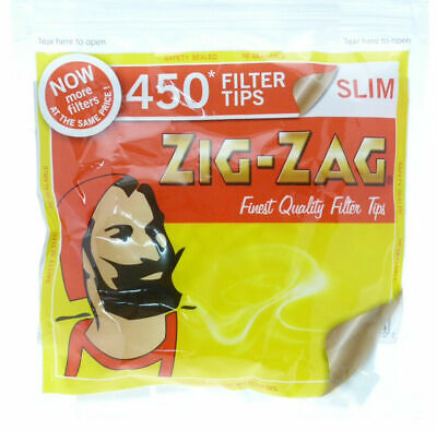 ZIG ZAG Resealable Large Bag 450 Bag SLIM Cigarette Rolling Filter Tips