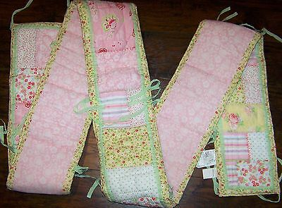 Pottery Barn Kids Floral Baby Crib Bumper Pink Shabby Chic