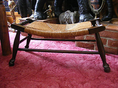 Antique Vintage French Dark Oak Wide Curved Rush Seat Bench Foot Stool Footstool • £119.99