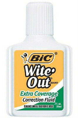 BIC Wite Out Extra Coverage Correction Fluid-0.7 Oz. (3 PACK)