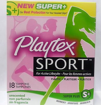 Playtex Sport Tampons, Unscented, Super Plus, 18 Ct (Pack of 3)