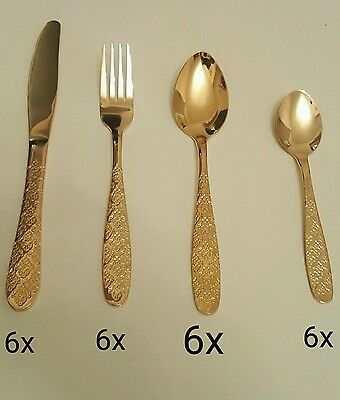 Kitchen Series 24 Piece Glamour Gold Plated Stainless Steel Cutlery Set