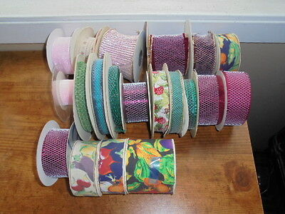 Large Craft Floral Ribbon Lot Wired Unwired Assorted Crafts Holiday Decor LOT K