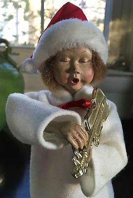 """10"""" Christmas Caroler/Violinist Figurine Closed Eyes, Open Mouth"""